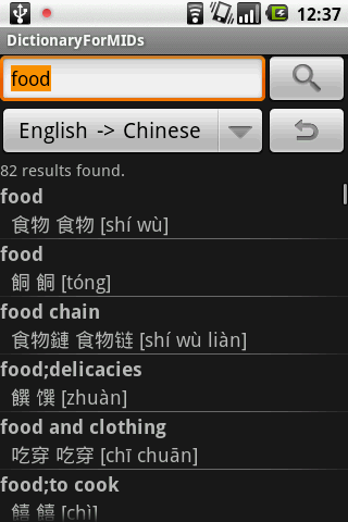 Result of translating food into Chinese