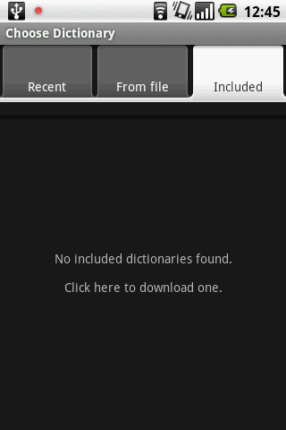 List of included dictionaries